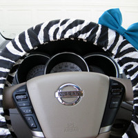 Zebra Steering Wheel Cover with Matching Teal Bow by BeauFleurs