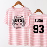Kpop BTS Bangtan Boys YOUNG FOREVER V JUNGKOOK  JHOPE The Same Stripy Short Sleeve Tshirt