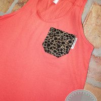 Coral Tank with Leopard Print Fabric Pocket