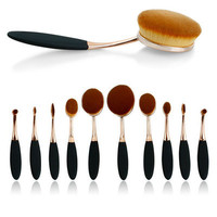 SIMPLE - Professional 10pcs Gold Cosmetic Makeup Brushes Set a12688