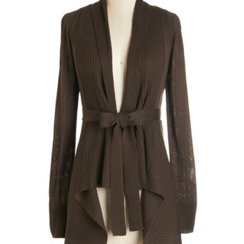 ModCloth Long Sleeve Coastal Cafe Cardigan in Chocolate