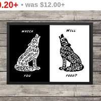 Two Wolves quote | The one you feed | Minimalist Poster | Typography | Silhouette | Inspirational
