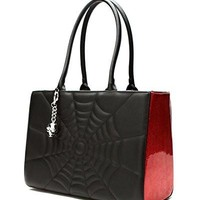 Elvira Lucky Me Tote in Black Matte with Red Sparkle