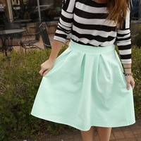 Spring pleated A-Line Skirt!