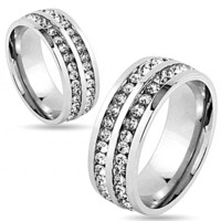 We Belong Together - Double band Stainless Steel and Cubic Zirconia Embellished Ring