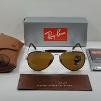 RAY-BAN OUTDOORSMAN CRAFT SUNGLASSES RB3422Q 9041 BROWN/BROWN CLASSIC LENS 58MM