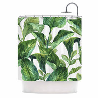 "Kess Original ""Banana Leaves"" Green White Shower Curtain"