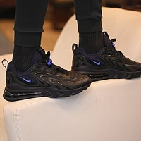 "Samplefine2 NIKE AIR MAX 270 REACT ENG ""BLACK / OBSIDIAN"" half palm cushion cushioning sneakers shoes"