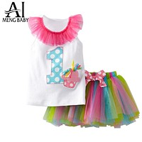 Baby Clothing Sets Christening Clothes Letter Shirt Tutu Skirt Baby Girl Infant Suits Party Outfits