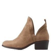 Taupe Cut-Out Ankle Booties by Charlotte Russe