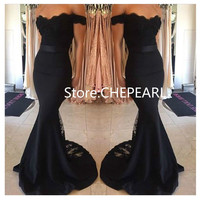 2017 Free Shipping Off the Shoulder Black Sexy Lace Mermaid Prom Dress Evening Gowns Vestido De Renda Festa Longo In Stock