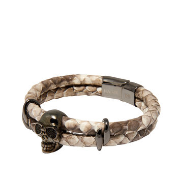 Men's Python Collection - Natural Python with Black Skull