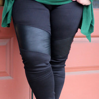 Off Duty Black Leggings with Leather Inserts {Curvy}