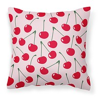 Cherries on Pink Fabric Decorative Pillow BB5139PW1818