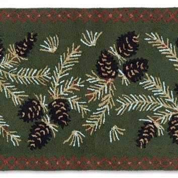 "Diamond Pinecone Hooked Wool Runner 30"" x 8'"