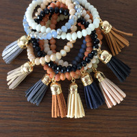 Beaded Tassel Bracelet - Multiple Colors