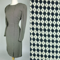 1980s Armani dress, designer long sleeve black and white geometric print wiggle dress, Large, 10