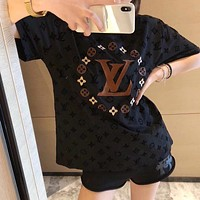 LV Louis Vuitton velvet printed heavy embroidery half sleeve T-shirt
