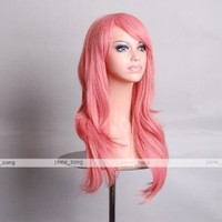 """Outop 28 """"High Quality Women's Hair Wig New Fashion Woman's Long Big Wavy Hair Heat Resistant Wig for Cosplay Party Costume(pink)"""