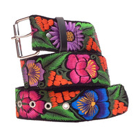 Leather wide belt with traditional Guatemalan embroidery - Jardín (Garden) gold, blue, violet, green - Size Small, Medium, Large - JDWB1
