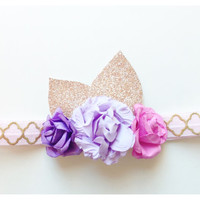Baby girl headband gold headband Purple flower crown baby crown gold crown birthday headband floral headband floral crown easter headband