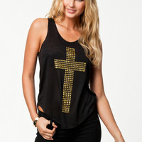 Black Cross Gold Studded Print Sleeveless Top