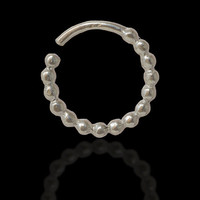 Ornamented Silver Septum For Pierced Nose - Nose jewelry - Septum Jewelry - Indian Nose Ring - Ethnic Septum - Septum Piercing