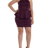 Plus Size Strappy Racer Front Peplum Dress