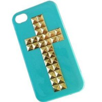Shapotkina DIY Punk Cross Style Mobile Phone Case for Iphone 4 4s Mobile Cover with Studs and Spikes Blue Gold