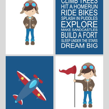 Aviation Nursery Art Print Set of 4 - Multiple Sizes