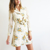 Floral 1970's Mini Dress // Small Cream Print Dress // Vintage Women's Clothing