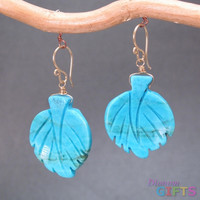 """Turquoise leaf, 1-1/4"""" Earring Gold Or Silver"""