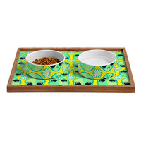 Chobopop Sad Alien And Daisy Pattern Pet Bowl and Tray