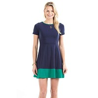 Jenna Dress in Navy and Green by Duffield Lane