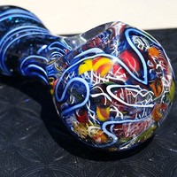 Glass pipe hand GlassArt pipe Blue rose twist finish glass tobacco pocket mini color changing spoon pipe