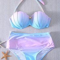 Pearl Halter Ombre Underwire Seashell Bikini Mermaid Swimwear