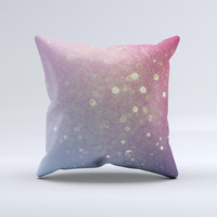 The Pink and Blue Shimmering Orbs of Light ink-Fuzed Decorative Throw Pillow