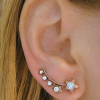 Star Ear Sweep Pin Wrap - Cuff Earring Ear Climber Minimal with Swarovsky - Bronze