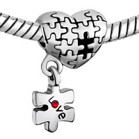 Pugster Silver Ruby Puzzle Heart Dangle Love Charm. Fits European Charm Bracelets (Pandora, Trollbeads, Dione, Chamilia) - Mother's Day Gift