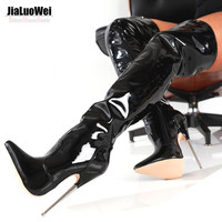 """JIaluowei 6 1/4"""" ultra Metal High Heels Patent Leather Boots Pointed Toe Plain Stretch fetish Sexy unisex Long Thigh High Boots"""