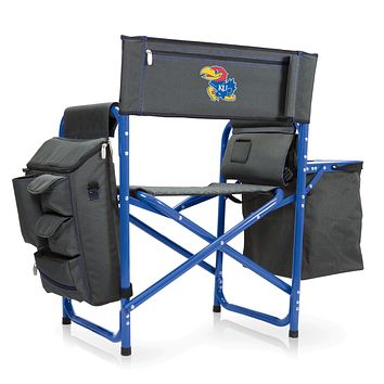 Kansas Jayhawks - Fusion Backpack Chair with Cooler, (Dark Gray with Blue Accents)
