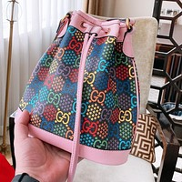 GUCCI Pop Candy Series Popular Women Shopping Bag Leather Bucket Bag Shoulder Bag Crossbody Satchel Pink