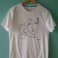 Picasso Woman with Pigeon Sketch T Shirt