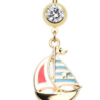 Golden Colored Sail Boat Anchor Dangle Belly Button Ring