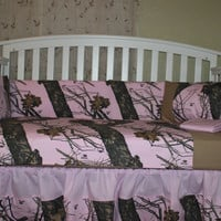 Light Pink Mossy Oak 6 Piece Crib Bedding Set