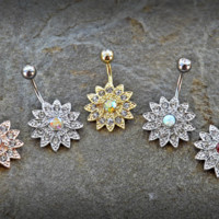 Paved Gems Flower with Center CZ 316L Surgical Steel Navel Ring 14ga Belly Button Ring