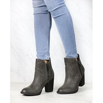 Not Rated - Gretchen Laser Cut Ankle Bootie in Charcoal Grey