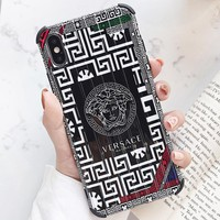 Versace New fashion human head pattern print couple protective cover phone case