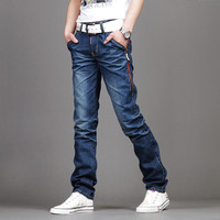 Men's Casual Slim Fit Pant Personality Pockets Fashion Straight Jeans