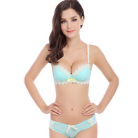 new fashion sexy womens bra and briefs set girls cotton push up underwear bras suit A B same cup 4color brassiere sets